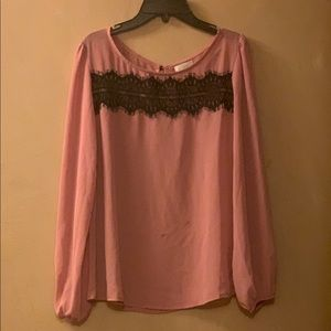 Charming Charlie pink and blank long sleeve blouse